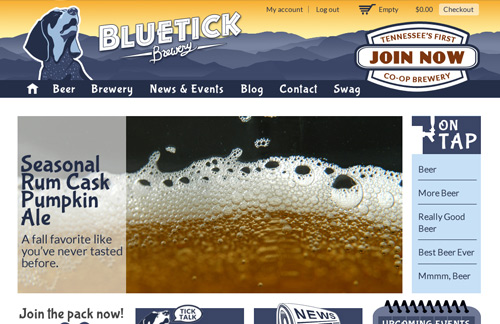 Screen capture of Bluetick Brewery website