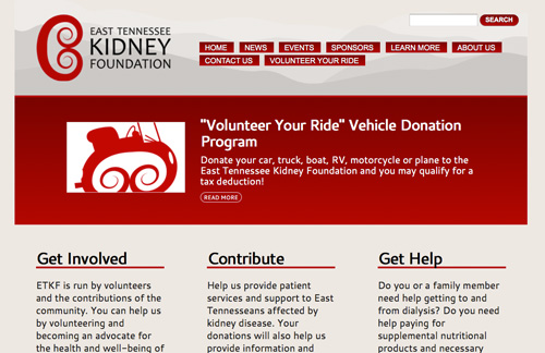 Screen capture of East Tennessee Kidney Foundation website