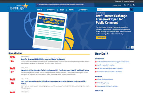 Screen capture of HealthIT.gov Redesign website