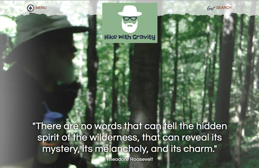 Screen capture of Hike with Gravity website