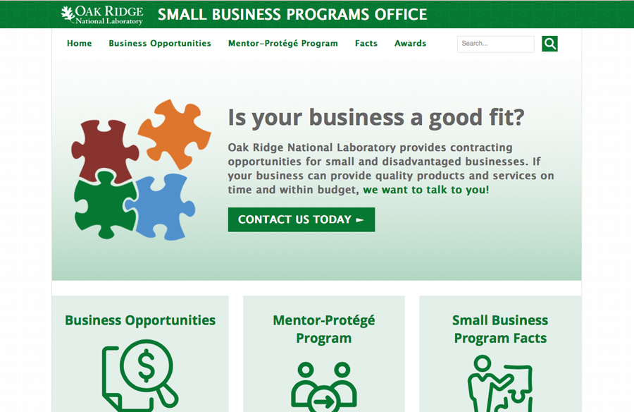 Screen capture of ORNL Small Business Programs Office website