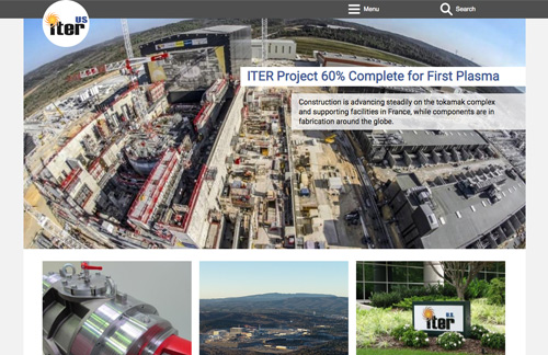 Screen capture of US ITER website