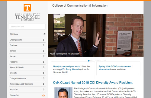 Screen capture of University of Tennessee website